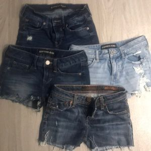 Lot of 4 Women's Jeans Shorts Size 00 and 26